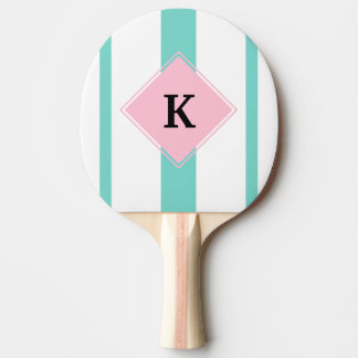 Turquoise Pink Stripes Monogram Ping Pong Paddle