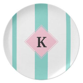 Turquoise Pink Stripes Monogram Plate