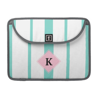 Turquoise Pink Stripes Monogram Sleeve For MacBooks