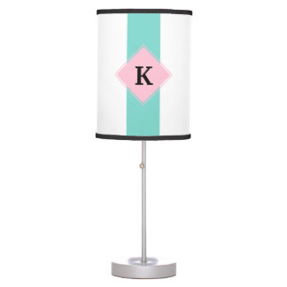 Turquoise Pink Stripes Monogram Table Lamps