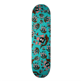 Turquoise pirate ship pattern skate deck
