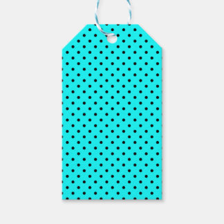 Turquoise polka dot background pack of gift tags