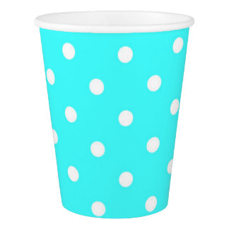 Turquoise polka dot glamour cute paper cup