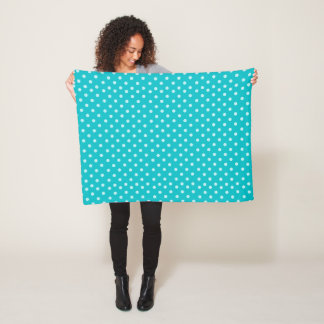 Turquoise Polka Dot Pattern Design Fleece Blanket