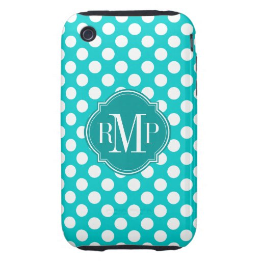 Turquoise Polka Dot Pattern Monogram Tough iPhone 3 Cover