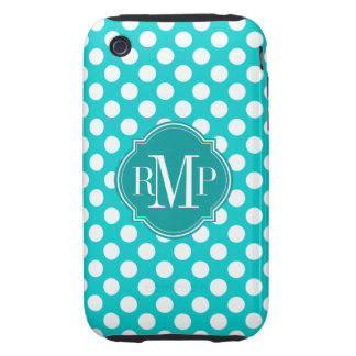 Turquoise Polka Dot Pattern Monogram Tough iPhone 3 Cases