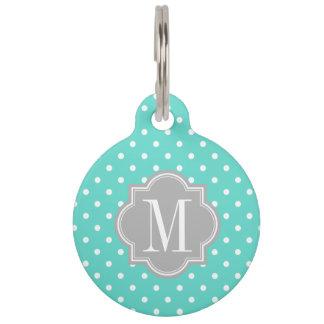 Turquoise Polka Dot with Gray Monogram Pet Name Tag
