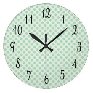 Turquoise Polka Dots Large Clock
