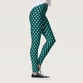 Turquoise Polka Dots Leggings