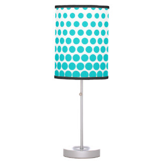 Turquoise Polka Dots Modern White Table Lamp