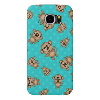 Turquoise polka dots nerd monkey samsung galaxy s6 cases