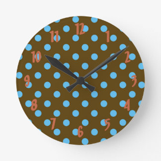 Turquoise polka dots on dark brown, wall clock