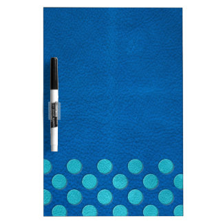 Turquoise Polka Dots on Lapis Blue Leather Texture Dry Erase Boards