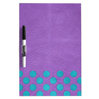 Turquoise Polka Dots on Purple Leather print Dry-Erase Whiteboards