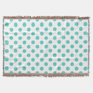 Turquoise polka dots throw blanket