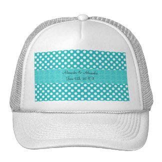 Turquoise polka dots wedding favors trucker hat
