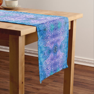 Turquoise Purple Abstract Medium Table Runner