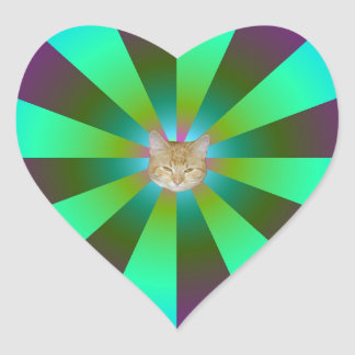 Turquoise Purple and Green Sunbeams + Cat Heart Sticker