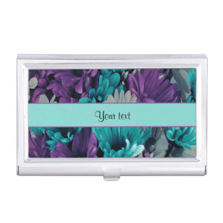 Turquoise & Purple Daisies Case For Business Cards