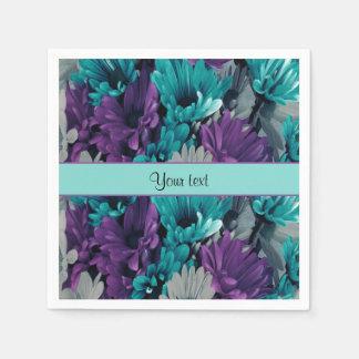 Turquoise & Purple Daisies Paper Napkins