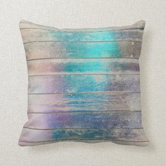 Turquoise Purple Glam Metallic Wood Grungy Maroon Throw Pillow