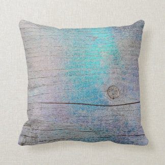 Turquoise Purple Glam Metallic Wood Grungy Plum Throw Pillow