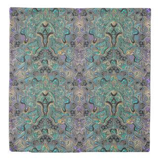 Turquoise Purple Gold Mandala Bedspread