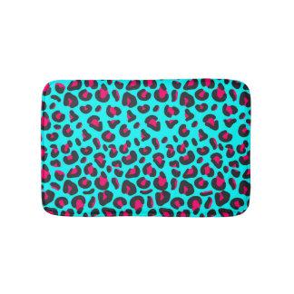 Turquoise Purple Leopard Animal Print Bathroom Mat