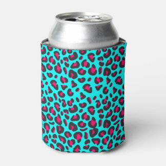 Turquoise Purple Leopard Animal Print Can Cooler