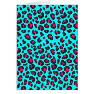 Turquoise Purple Leopard Animal Print Card