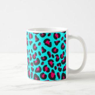 Turquoise Purple Leopard Animal Print Coffee Mug
