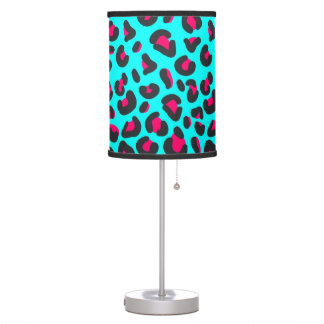 Turquoise Purple Leopard Animal Print Table Lamp