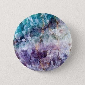 Turquoise & Purple Quartz Crystal 2 Inch Round Button