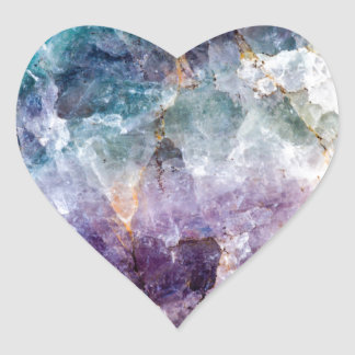 Turquoise & Purple Quartz Crystal Heart Sticker