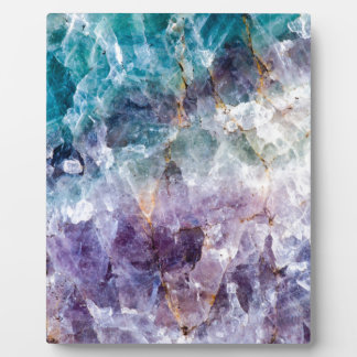 Turquoise & Purple Quartz Crystal Plaque