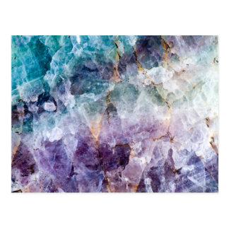 Turquoise & Purple Quartz Crystal Postcard