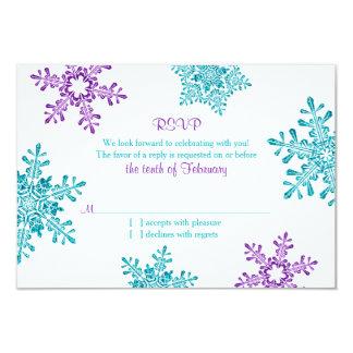 "Turquoise Purple Snowflake Winter Wedding RSVP 3.5"" X 5"" Invitation Card"