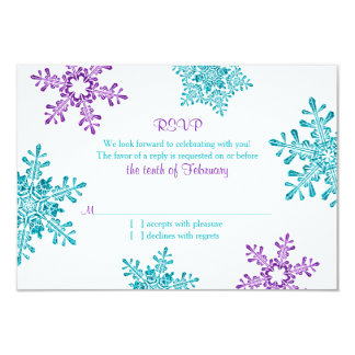 Turquoise Purple Snowflake Winter Wedding RSVP Card