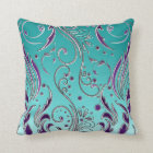 Turquoise Purple swirl Throw Pillow