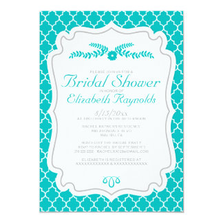 Turquoise Quatrefoil Bridal Shower Invitations