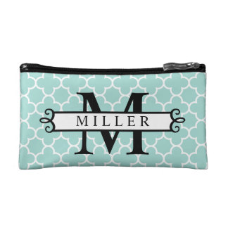 Turquoise Quatrefoil Custom Monogram Name Makeup Bags