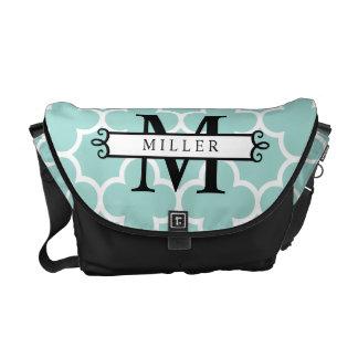 Turquoise Quatrefoil Custom Monogram Name Messenger Bags
