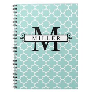 Turquoise Quatrefoil Custom Monogram Name Notebook