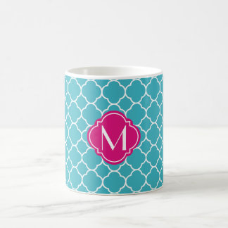 Turquoise Quatrefoil Pattern with Monogram Coffee Mug
