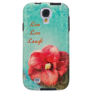 Turquoise & Red Flower Galaxy S4 Cases