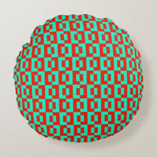 Turquoise&Red Tiles Design on Round Sofa Cushion
