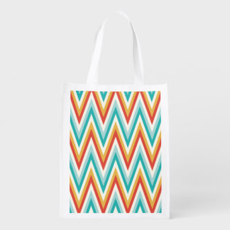 Turquoise Red Yellow Zig Zag Chevron Stripes Reusable Grocery Bags