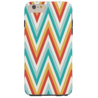 Turquoise Red Yellow Zig Zag Chevron Stripes Tough iPhone 6 Plus Case