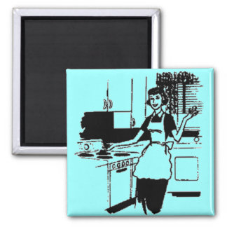 Turquoise Retro 50s Housewife in the Kitchen Square Magnet