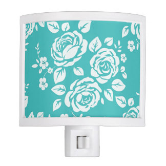 Turquoise_Retro_Floral(c) Unisex Nite Lite
